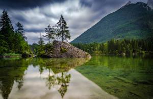 Фотографии Германия Горы Леса Озеро Пейзаж Деревья Hintersee