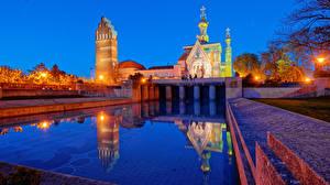Фотография Германия Храм Церковь Плавательный бассейн Ночные Уличные фонари Darmstadt город