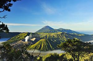 Картинки Индонезия Горы Пейзаж Вулкана Mount Bromo Surabaya Природа