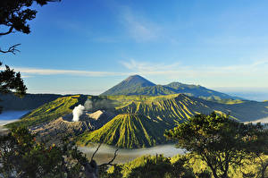 Картинки Индонезия Горы Пейзаж Вулкан Mount Bromo Surabaya