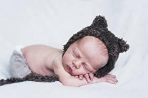 Картинки Младенцы Шапки Спящий Дети