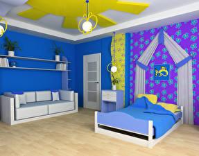 Фото Интерьер Детская комната Дизайн Кровать Диван
