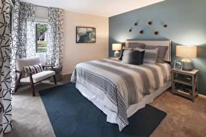 Картинка Интерьер Дизайн Спальня Кровать Кресло