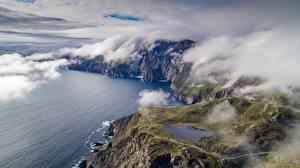 Обои Ирландия Заливы Скале Мох Облачно Donegal Природа