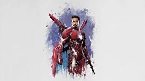 Обои Железный человек герой Мстители: Война бесконечности Серый фон Фильмы