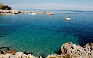 Картинки Италия Берег Пирсы Залив Capo Gallo Palermo Природа