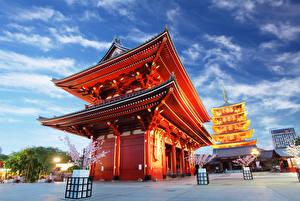Фотографии Япония Токио Храмы Цветущие деревья Дизайн Asakusa Kannon Temple город