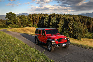Фотографии Jeep SUV Красные 2018 Wrangler Unlimited Rubicon Worldwide машины