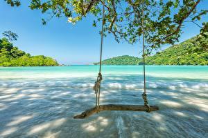 Картинки Мальдивы Океан Качели Пляж Природа