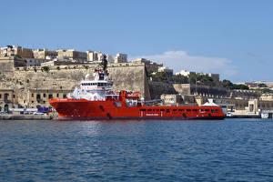 Фото Мальта Здания Пирсы Корабли Залив Valletta Города