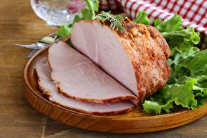 Картинка Мясные продукты Ветчина Нарезка Пища