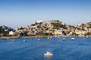 Картинка Мексика Дома Причалы Катера Залив Холмы Acapulco Города