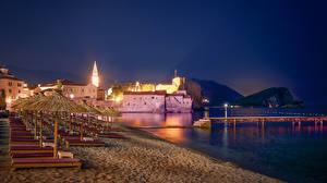 Фотографии Черногория Дома Причалы Пляж Ночные Лежаки Budva Города