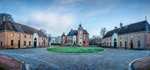 Картинки Нидерланды Замки Газон Kasteel Cannenburgh Города