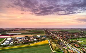 Фотография Нидерланды Здания Поля Речка Небо Деревня Schagerbrug Города