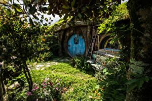 Картинки Новая Зеландия Парки Здания Hobbiton Matamata Природа
