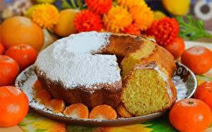 Картинка Пирог Мандарины Сахарная пудра