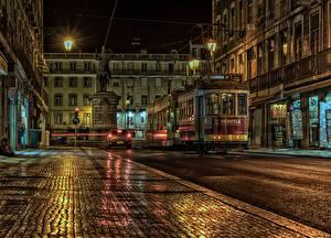 Фотографии Португалия Дома Памятники Улица Ночь Уличные фонари Lissabon