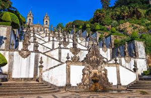 Картинка Португалия Храмы Скульптуры Дизайн Лестница Braga