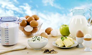 Картинки Творог Молоко Яблоки Мюсли Завтрак Яйца Кувшин Еда