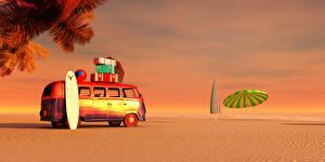 Фотография Курорты Побережье Автобус Зонт Песок 3D Графика