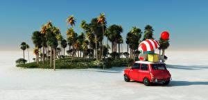 Обои Курорты Берег Пальмы Зонт 3D Графика