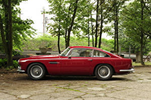 Фотографии Ретро Aston Martin Металлик Красный Сбоку 1960-61 DB4 Worldwide Touring Автомобили
