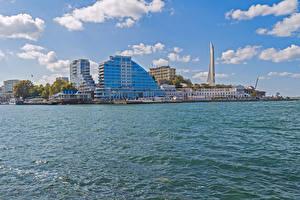 Фотография Россия Крым Здания Причалы Залив Sevastopol Города