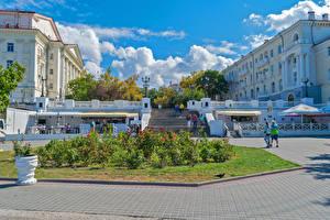 Картинка Россия Крым Дома Лестница Кафе Забором Sevastopol Города