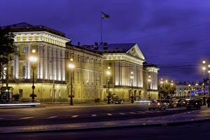 Обои Россия Санкт-Петербург Здания Вечер Улица Уличные фонари Admiralty