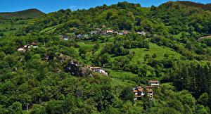 Картинка Испания Здания Леса Холмы Proacina Asturias