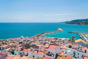 Картинки Испания Здания Море Пирсы Peniscola Города