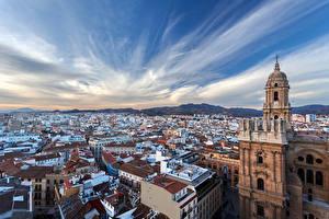 Фотографии Испания Здания Храмы Небо Крыша Malaga Города