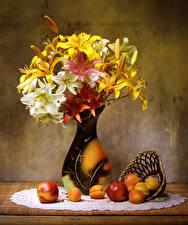 Фото Натюрморт Лилии Абрикос Персики Ваза Цветы Еда