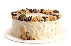 Фотография Сладкая еда Торты Белый фон Дизайна Продукты питания