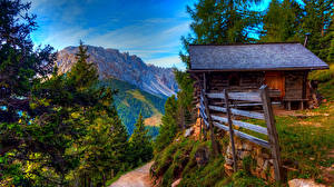 Картинка Швейцария Горы Дома Альпы Мох Природа