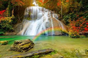 Картинка Таиланд Тропики Водопады Камень Радуга Утес Ngao district