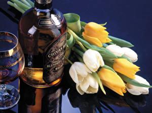 Картинки Тюльпаны Алкогольные напитки Виски Бутылка Цветы