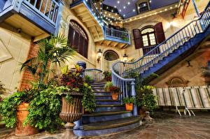 Фотографии США Диснейленд Парки Дома Калифорния Анахайм Лестница Дизайн