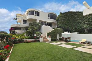 Картинки США Дома Особняк Дизайн Газон Кусты Laguna Beach город