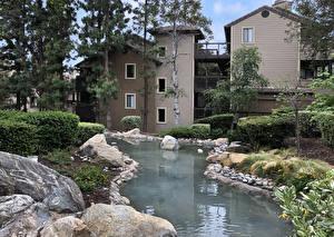 Фотография Штаты Здания Пруд Камень Калифорния Особняк Rancho Cucamonga Города