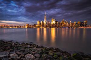 Фото Штаты Здания Речка Камень Манхэттен Ночные Города