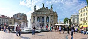 Обои Украина Львов Дома Фонтаны Скульптуры Городская площадь