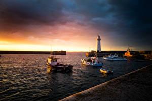 Картинка Великобритания Рассветы и закаты Маяки Пирсы Залив Donaghadee Northern Ireland Природа