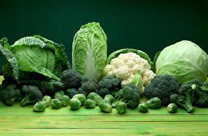 Картинки Овощи Капуста Зеленый Еда