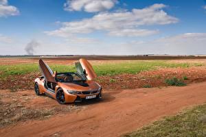 Картинки БМВ Оранжевый Кабриолет Родстер 2018 i8 Автомобили