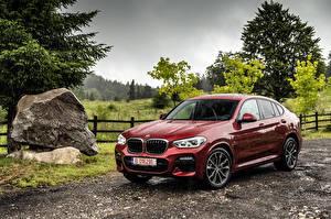 Обои для рабочего стола BMW Дождь Бордовый Металлик 2018 X4 xDrive25d M Sport Worldwide автомобиль
