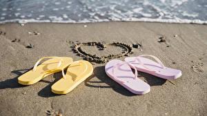 Картинка Пляж Песок Сердечко Сланцы