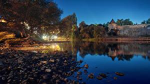 Фотография Босния и Герцеговина Реки Побережье Крепость Вечер Камни Banja Luka Природа