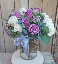 Фотографии Букеты Розы Гортензия Бантик Цветы